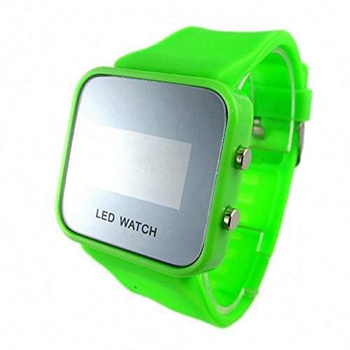 DAYAN Unisex-Gummiband-Spiegel-LED-Digital-Sport-Armbanduhr - gruen