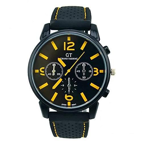 DAYAN Touring kuehlen Maenner Racing-Uhr-Schwarz-Vorwahlknopf-Silikon-Sport-Uhren Armbanduhr-Geschenk gelb