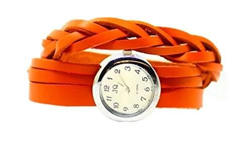DAYAN Vintage Retro Geflochtene Genuine Leather Strap-Frauen-Armbanduhr-Armband-Kleid-Uhren Clock - Orange