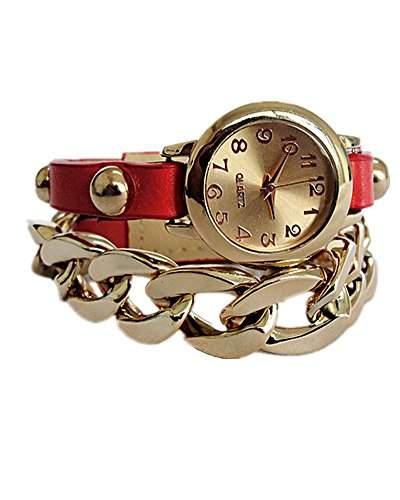 DAYAN Neues angekommen Plattierung multicolor Lederacrylkette Kombination Punk-Stil Goldfrauen-Mode Uhr - rote
