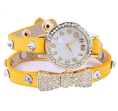 DAYAN Bogen-Design-Quarz-Art- Weave Wrap Around-Leder-Armband-Dame-Women-Armbanduhr - gelb