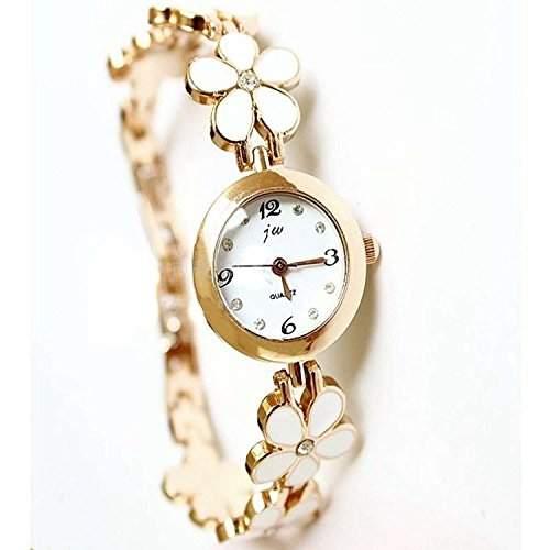 DAYAN Korean Fashion Gaensebluemchen-Blume Rose Gold Armband-Armbanduhr-Frauen-Maedchen-Geschenk Farbe Rosa