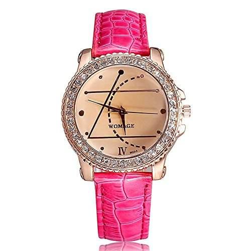 DAYAN New Fashion Damen Quarz-Armbanduhr-Kristall-Leder-Uhr Sport Classic DFUE-Frauen-Armbanduhr Farbe Rose Red
