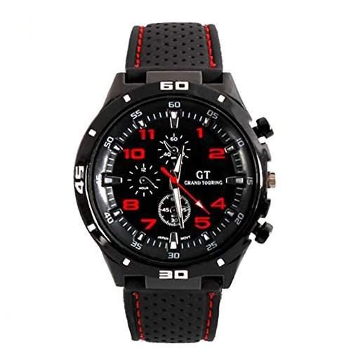 DAYAN GT Racer Sport-Uhr Military Pilot Aviator Armee-Art-schwarze Silikon Herrenuhr Farbe Rot