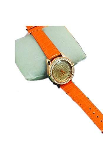 DAYAN High Quality Gogoey Lederarmbanduhr Frauen-Dame-Kristallkleid-Quarz-Armbanduhr Farbe Orange