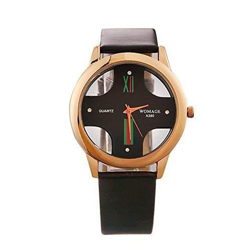 DAYAN beilaeufige Uhr Hohl Unisex-Quarz-Uhren Rotgold analoge Armbanduhr PU-Armband Schwarz