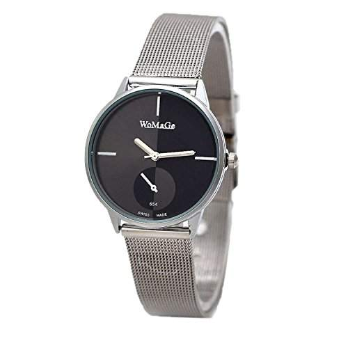 DAYAN Fashion Ladies Edelstahl-Buegel-Quarz-Frauen-Kleid-Armbanduhr-Farbe Schwarz