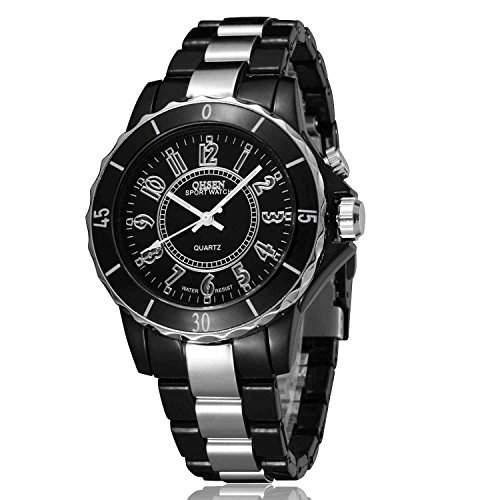 DAYAN Wasser wider Maenner-Frauen-Quarz-Sport-Armbanduhr 7 Farbe LED-Licht zu sehen Weiss