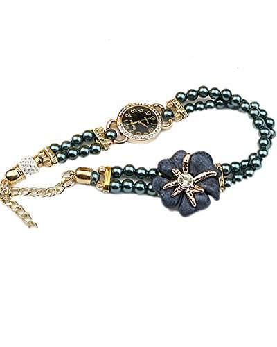 DAYAN Neueste Blumen-Perlen-Band-Quarz-Armbanduhr-Armband-Uhr fuer Dame-Farbe Khaki Blau