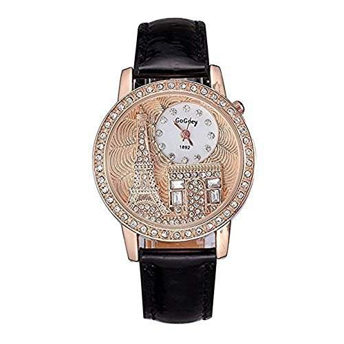 DAYAN Mode Damen Luxuxkristall Eiffelturm-Uhr-Leder-Quarz-Armbanduhr Farbe Schwarz