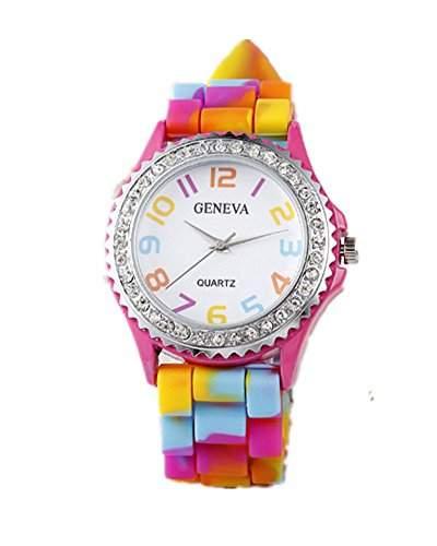 DAYAN Mode Regenbogen-Kristallrhinestone-Uhr-Silikon-Gelee Link-Band