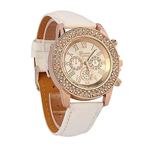 DAYAN Weisekristallvorwahlknopf-Quarz Analog Leder-Armband Mode-Frauen-Dame-Armbanduhr