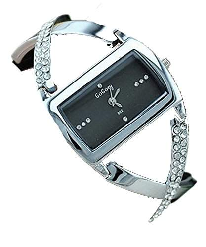 DAYAN Mode Damenkristall analoge Quarz-Armband-Armbanduhr