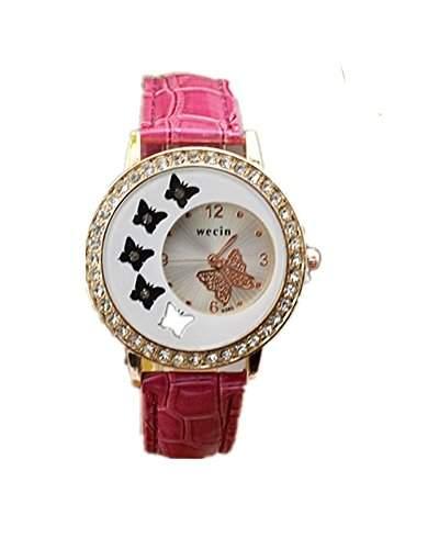 DAYAN Mode-Frauen-Schmetterlings-Muster-Diamantrhinestone-Quarz-Armbanduhr Farbe Rot
