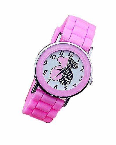 DAYAN New Baeren Silikon Gelee Uhren fuer Frauen Damen Freizeit Quarz Uhren neuen Art Armbanduhr Farbe Rosa