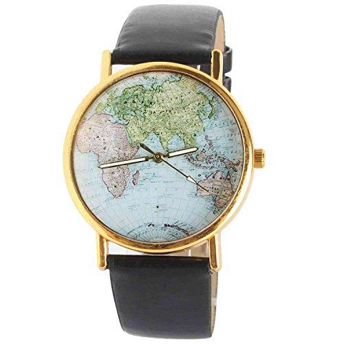 DAYAN Unisex Elegante Retro Old Classic Luxury World Map Armband Quarz Armbanduhr mit Lederband Farbe Schwarz