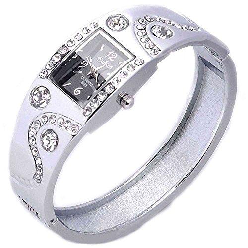 DAYAN eleganten Frauen Armband Armband Wave Rhinestone Kristall Armbanduhr Silber
