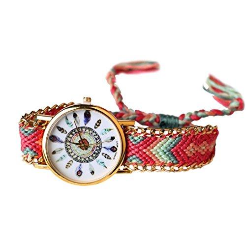 DAYAN Fashion Round Samt gewebt Band Pfau Feder Muster Quarz Armband Armbanduhr Multicolor 3