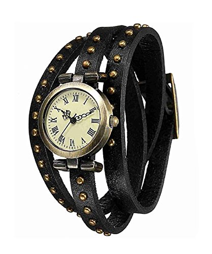 DAYAN Fashion Niet Weave Wrap Around Leder Retro Armband Frauen Armbanduhr Schwarz