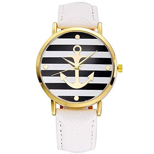 DAYAN Vintage Retro Frauen Watch Basel Stil geometrische Streifen Anker Leder Quarz Uhr Lederarmband Uhr Top Uhr Farbe Weiss