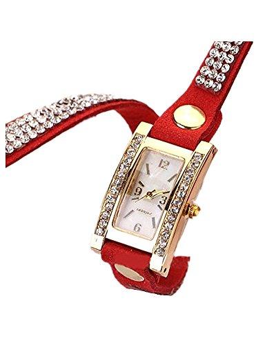 DAYAN Frauen Weinlese Quadrat Vorwahlknopf Rhinestone Webart Wrap Leder Armband Armbanduhr Farbe Rot