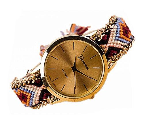 DAYAN Handgemachte geflochtenes Armband Uhr handgewebt Goldfarben Zifferblatt Dame Frauen Quarzt Uhren Muster 2