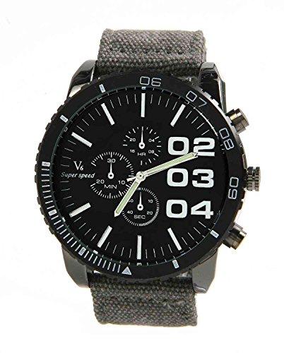 DAYAN New V6 Super Big Dial New Luxury Sport Weinlese Gewebe Band Clock Grau