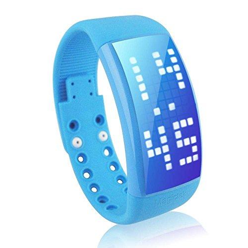 DAYAN Multifunktions Maenner Frauen personallized Signature 3D Schrittzaehler Smart LED beobachten Farbe Blau