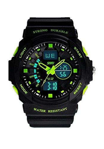 DAYAN Herren Damen Multifunktions Coole S Schock Sport Uhr LED Analog Digital Wasserdicht Alarm Gruen