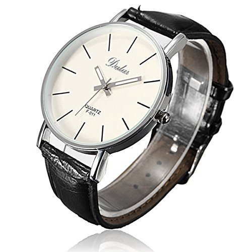 DAYAN Unisex PU Leder Uhr Lederarmband Uhr Farbe Schwarz