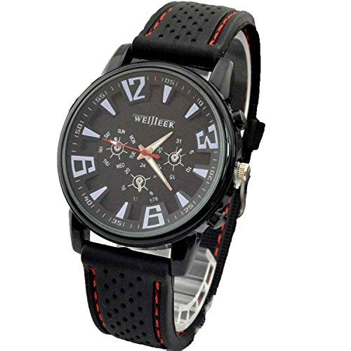 DAYAN Hohe Qualitaet 1pc New Pretty Fashion Geschaeft Mens Armee Sport Silicone Rubber Uhren Schwarz