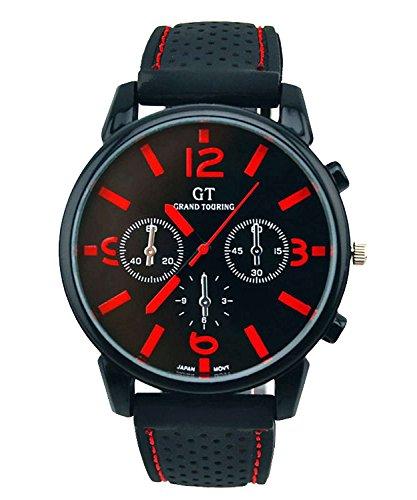 DAYAN Touring kuehlen Maenner Racing Uhr Schwarz Vorwahlknopf Silikon Sport Uhren Armbanduhr Geschenk rote