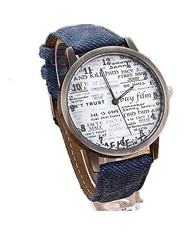 DAYAN unisex casual Quartz Analog Sport Denim Gewebe News Paper Armbanduhr Farbe Blau