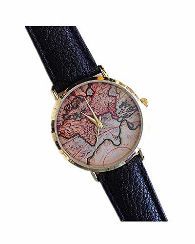DAYAN Unisex Maenner Frauen Dame Girls World Map Leder Uhren Quarz Armbanduhr Farbe Schwarz