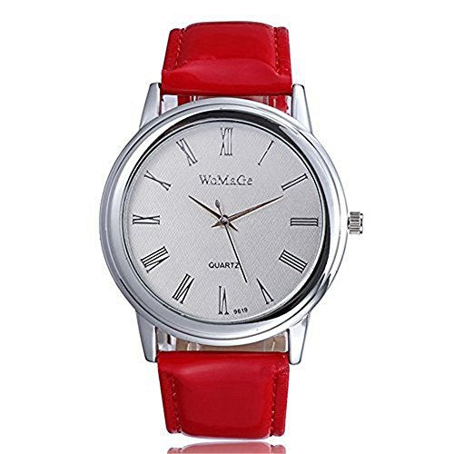 DAYAN Womens Dress Uhren Lederband Silver Dial Analoganzeige Farbe Rot