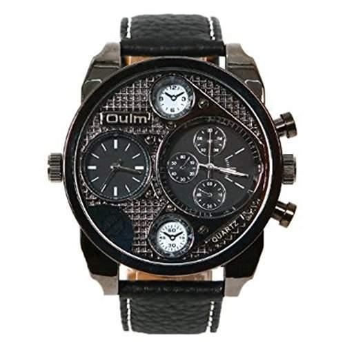 High Quality Maenner gross Zifferblatt 2 Zeitzone Militaer- Handgelenk Uhren schwarz