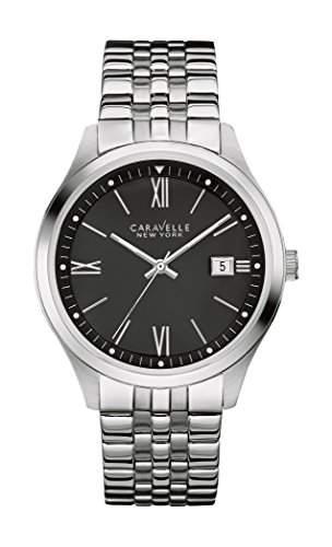 Caravelle New York Herren-Armbanduhr Analog Quarz One Size, schwarz, silberschwarz
