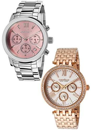 Caravelle NY Damen-Armbanduhr 38mm Chronograph Armband Edelstahl Rot + Gehaeuse Quarz 44N101-AL-80597-105