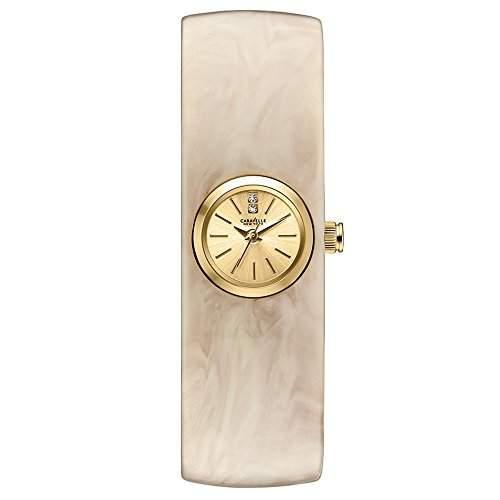 Carvelle New York gold Damen Quarzuhr mit Champagner Zifferblatt Analog-Anzeige und Weiss Armreif 44l136