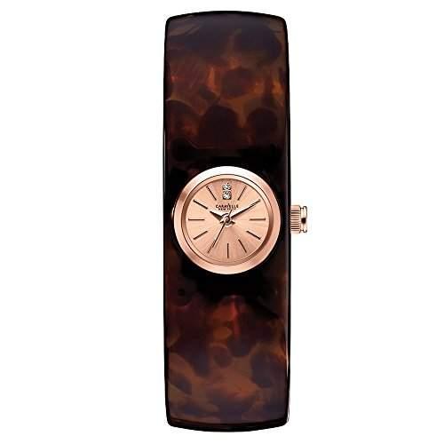Carvelle New York Rose Gold Damen Quarzuhr mit Rose Gold Zifferblatt Analog-Anzeige und braunem Armreif 44L139