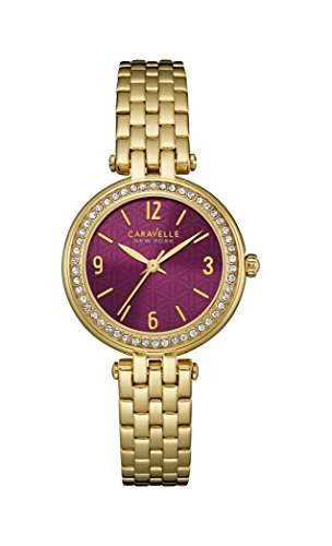 Caravelle New York Damen-Armbanduhr MINI T-BAR Analog Quarz Edelstahl beschichtet 44L174