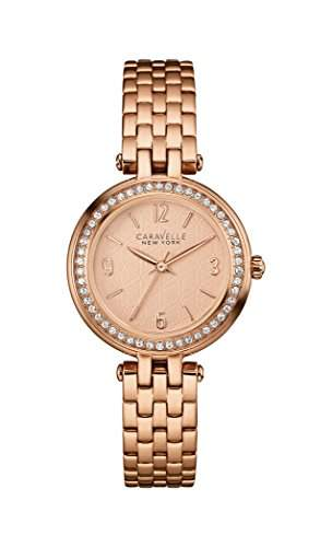 Caravelle New York Damen-Armbanduhr MINI T-BAR Analog Quarz Edelstahl beschichtet 44L175