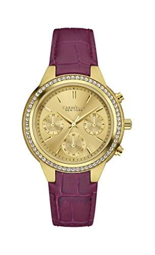 Caravelle New York Damen-Armbanduhr NEW BOYFRIEND Chronograph Quarz Leder 44L182