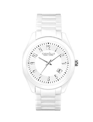 Caravelle New York WomenQuarz-Uhr mit weissem Zifferblatt Analog-Anzeige und weisse Ceramik Armband 45M107