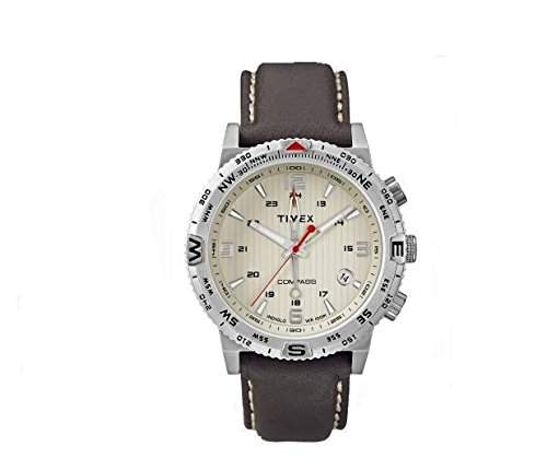 Timex Herren-Armbanduhr XL Adventure Series Compass Analog Quarz Leder T2P287