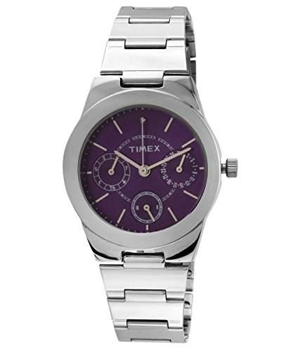 Timex Analog violett Zifferblatt Damen Armbanduhr, J101
