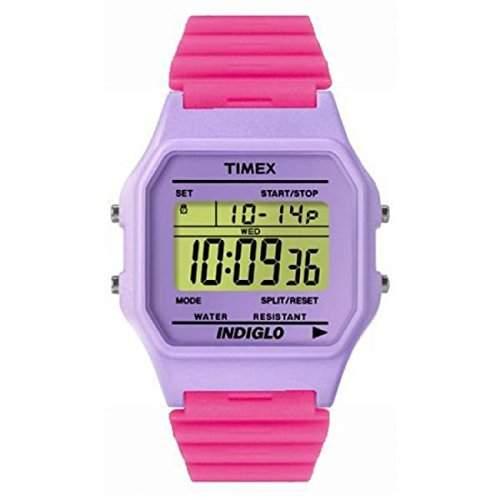Timex-T2N267-T80Classic-Armbanduhr-Quarz Digital-Zifferblatt Violett Armband Kunstharz violett