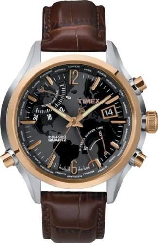 Timex Herren-Armbanduhr Analog Quarz Leder T2N942
