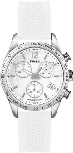 Timex-T2P061-Kaleidoscope Damen-Armbanduhr-Quarz Chronograph-Weisses Ziffernblatt-Armband Silikon weiss