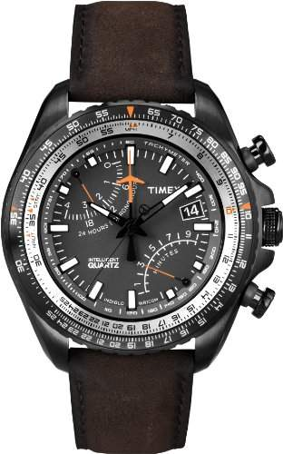 Timex Intelligent Quartz Herren-Armbanduhr Chronograph leder braun T2P102